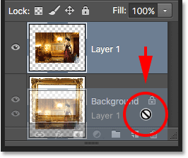 Trying to drag Layer 1 below the Background layer in the Layers panel.