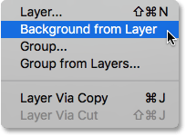 Selecting the New Background from Layer command. Image © 2016 Photoshop Essentials.com