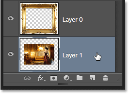 Selecting Layer 1 in the Layers panel. Image © 2016 Photoshop Essentials.com