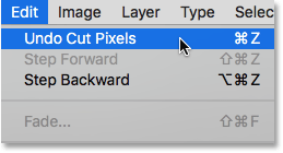 Choosing Undo Cut Pixels from under the Edit menu.