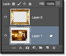 Selecting the layer to convert into a Background layer. Image © 2016 Photoshop Essentials.com