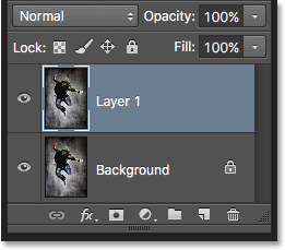 Making a copy of the Background layer by pressing Ctrl+J (Win) / Command+J (Mac).