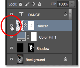 Clicking the layer visibility icon in the Layers panel.