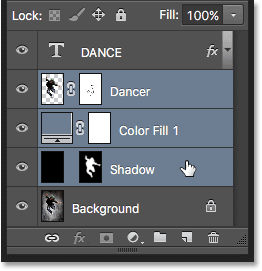 Selecting contiguous layers in Photoshop.