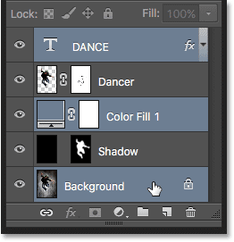 Selecting non-contiguous layers in Photoshop.