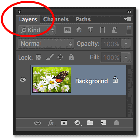 The Layers panel name tab in Photoshop.