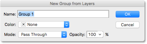 The New Group dialog box in Photoshop.