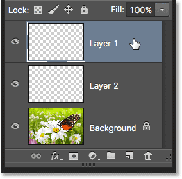 Clicking on Layer 1 in the Layers panel to select it. Image © 2016 Photoshop Essentials.com