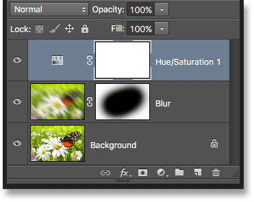 The Hue/Saturation adjustment layer now appears in the Layers panel. Image © 2016 Photoshop Essentials.com