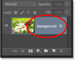 The Layers panel showing the name of the layer. Image © 2016 Photoshop Essentials.com