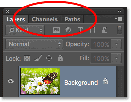 The Channels and Paths panels grouped in with the Layers panel. Image © 2016 Photoshop Essentials.com