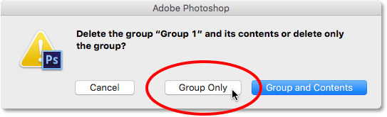 Choosing to delete the group only. Image © 2016 Photoshop Essentials.com