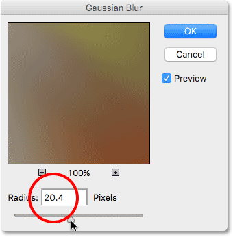 The Gaussian Blur filter's dialog box. Image © 2016 Photoshop Essentials.com