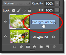 Renaming the Background copy layer. Image © 2016 Photoshop Essentials.com