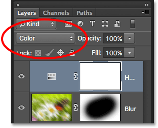The layer blend mode option in the Layers panel. Image © 2016 Photoshop Essentials.com