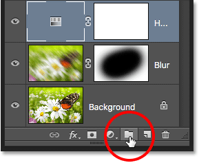 The New Layer Group icon in the Layers panel in Photoshop.