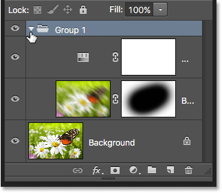 The layer group has been twirled open. Image © 2016 Photoshop Essentials.com