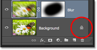 The lock icon in the Layers panel. Image © 2016 Photoshop Essentials.com
