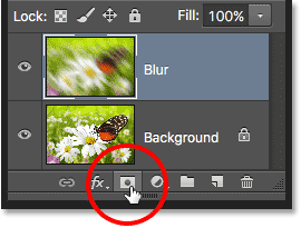 The Layer Mask icon in the Layers panel in Photoshop.