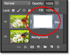 A layer mask thumbnail in the Layers panel. Image © 2016 Photoshop Essentials.com