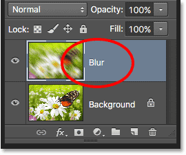 The Background copy layer is now the Blur layer. Image © 2016 Photoshop Essentials.com