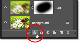 The Layer Styles icon in the Layers panel in Photoshop.