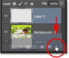 Deleting Layer 2. Image © 2016 Photoshop Essentials.com