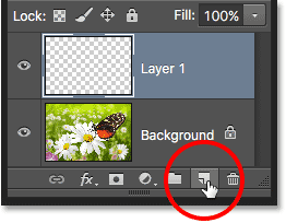 Clicking a second time on the New Layer icon. Image © 2016 Photoshop Essentials.com