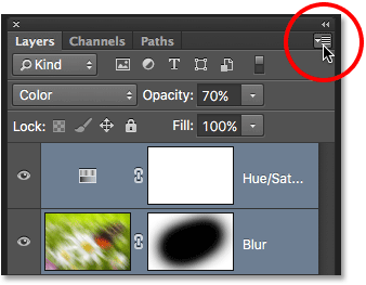 Clicking the Layers panel menu icon. Image © 2016 Photoshop Essentials.com