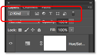 The Search feature in the Layers panel in Photoshop CS6.