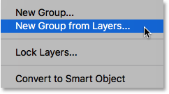 The New Group from Layers option in the Layers panel menu. Image © 2016 Photoshop Essentials.com