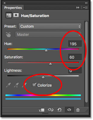 The Hue/Saturation controls in the Properties panel. Image © 2016 Photoshop Essentials.com