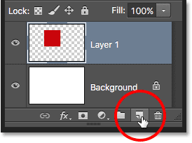 Adding a second new layer to the document. Image © 2016 Photoshop Essentials.com