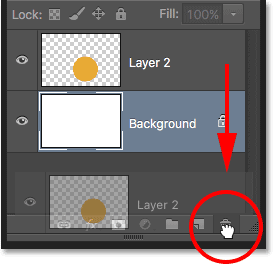 Dragging Layer 2 into the Trash Bin. Image © 2016 Photoshop Essentials.com