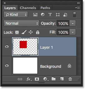 The Layers panel showing the square shape on Layer 1. Image © 2016 Photoshop Essentials.com