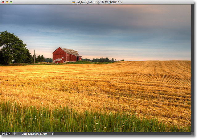 An HDR photo of a red barn in a field. Image © 2012 Steve Patterson, Photoshop Essentials.com