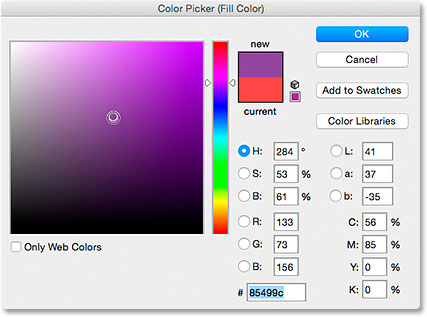 Choosing a fill color from the Color Picker. Image © 2015 Steve Patterson, Photoshop Essentials.com