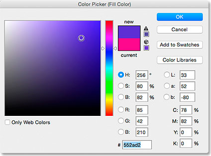 Choosing a fill color for the shape from the Color Picker. Image © 2015 Steve Patterson, Photoshop Essentials.com