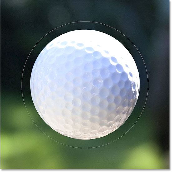 Drawing a circular path around a golf ball in Photoshop.