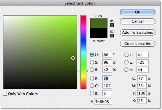 Photoshop Color Picker. Image  2011 Photoshop Essentials.com