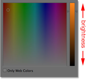The main brightness bar in the Color Picker. Image © 2014 Photoshop Essentials.com
