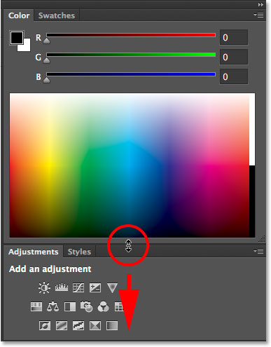 Dragging downward to make the Color panel longer. Image © 2014 Photoshop Essentials.com