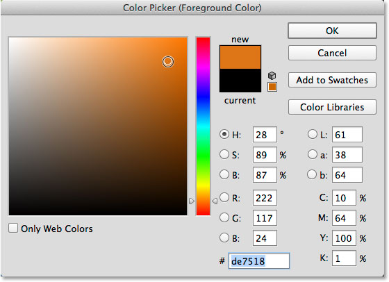 The Color Picker in Photoshop. Image © 2014 Photoshop Essentials.com