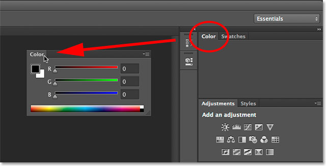 Undocking the Color panel from the other panels in the area. Image © 2014 Photoshop Essentials.com