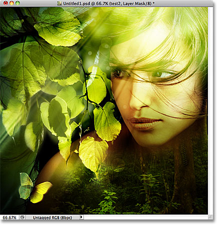 A composite image created from three photos in Photoshop. Image &copy; 2011 Photoshop Essentials.com