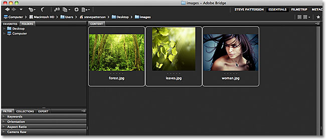 All three images are now selected in Adobe Bridge. Image &copy; 2011 Photoshop Essentials.com
