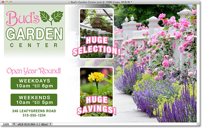 Buds Garden Center Photoshop mockup. Image © 2011 Photoshop Essentials.com