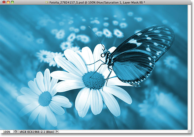 The photo has been colorized with a Hue/Saturation adjustment layer. Image © 2011 Photoshop Essentials.com