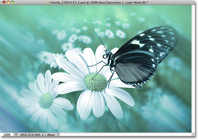 The image after lowering the opacity value of the adjustment layer. Image © 2011 Photoshop Essentials.com