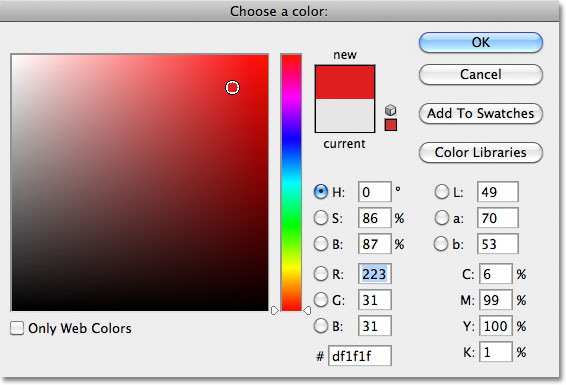 Choosing a color from the Color Picker in Photoshop. Image © 2011 Photoshop Essentials.com